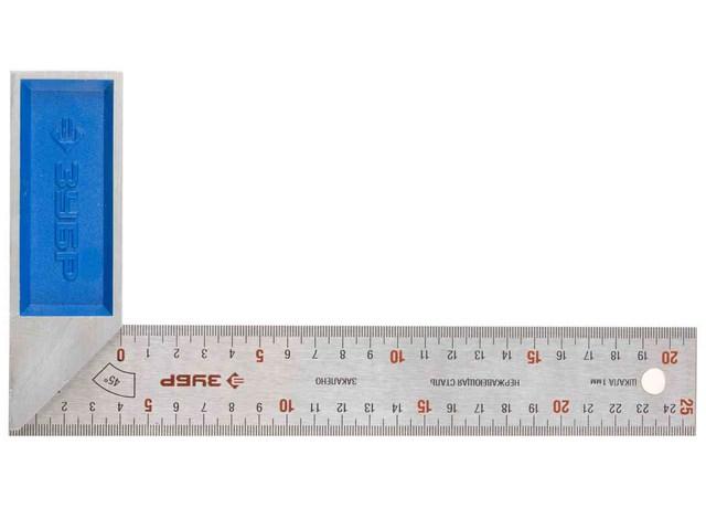 """Угольник ЗУБР """"ЭКСПЕРТ"""", гравированная шкала, алюминевая рукоятка, 250 мм"""