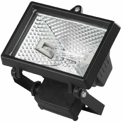 Прожектор галогеновый СВЕТОЗАР с дугой крепления под установку цвет черный 150 вт